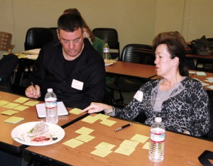 Volunteer alums Alice and Dave brainstorm ideas on sticky notes for HPVANDME, a client of the Solutions Lab.